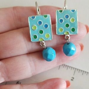 ENAMEL & Dangle omega back earrings
